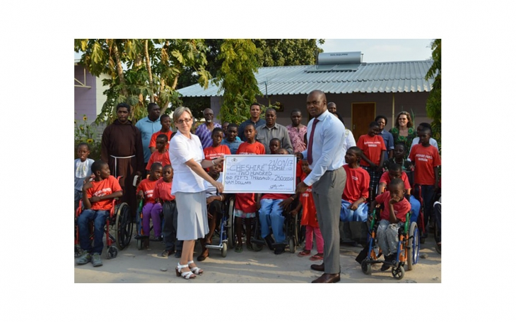A gift of development for the young disabled. Development Bank of Namibia (DBN) Senior Communication Manager Jerome Mutumba hands over a substantial donation to the Cheshire Home in Katima Mulilo.